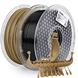 AMOLEN PLA 3D Printer Filament, 1.75mm, Set with Silk Grey and Wood, Each Spool 1kg, 2 Spools Pack
