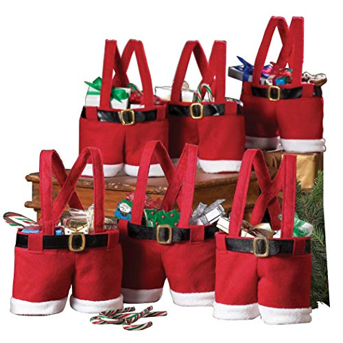 "Collections Etc Santa Pants Gift and Treat Bags- 9"" L x 11 1/2"" H"