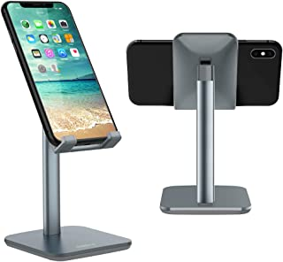 Nulaxy Adjustable Phone Stand, Upgraded Height Increasing Cell Phone Stand, Cradle, Dock, Desk Phone Holder Compatible with iPhone Xs Xr 8 X 7 6 6s Plus SE 5 5s 5c, All Smartphones - Space Grey