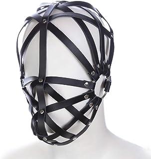 ZBZYXA Black Leather Hollow Face Hooded Adult Love Mask Men and Women Fun Wigs Wigs Men Women Couples T-Shirt Trousers
