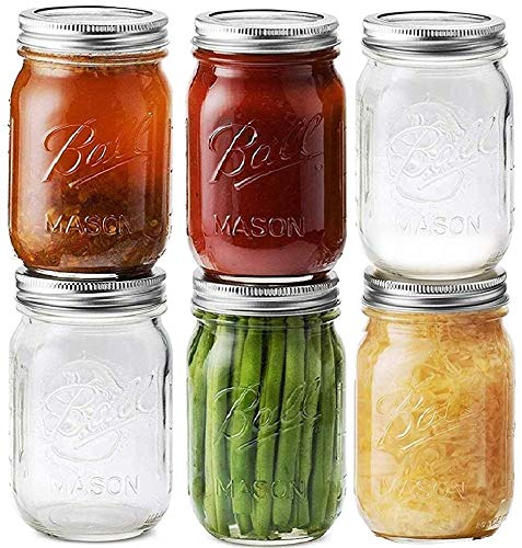 Ball Mason Jars 16 oz/Pint - Regular Mouth Jars with Airtight lids & Bands, Microwave & Dishwasher Safe + SEWANTA Jar Opener - 6 Jars