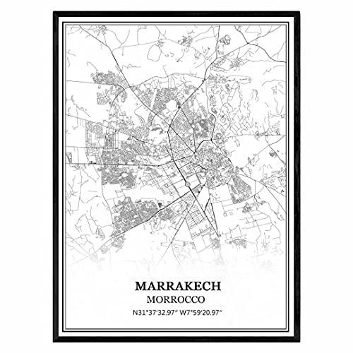 marrakech Marruecos Mapa de pared arte lienzo impresión cartel obra de arte sin marco moderno mapa en blanco y negro recuerdo regalo decoración del hogar
