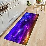 Alfombra de Puerta de Entrada de Cocina Impermeable Universo Cielo Estrellado patrón hogar Dormitorio Alfombra de Piso baño Alfombra Antideslizante NO.8 40X60cm