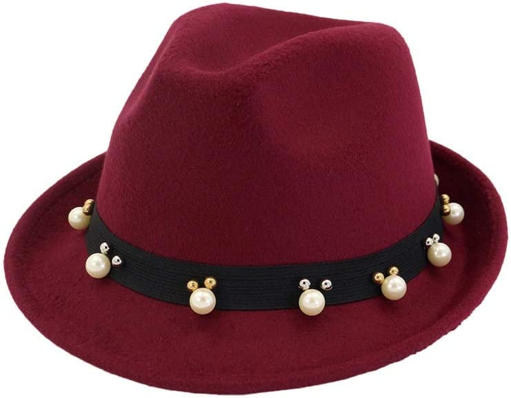 Men Women Fedora Hat Raleigh Mall with Pearl Belt Pop Panama Casual Cloth Max 76% OFF