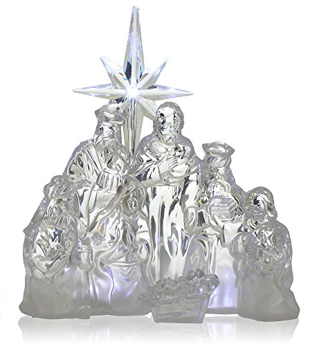 BANBERRY DESIGNS Nativity Scene - LED Acrylic Christmas Nativity - Battery Operated Manger Table Top Decoration - Holy Family - Christmas Decorations