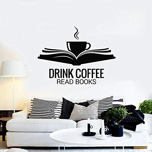 Tianpengyuanshuai Fototapeten offenes Buch Tasse Kaffee Trinken lesebuch Vinyl Fenster Aufkleber wörter wandbild Cafe leseraum Dekoration 63x84cm