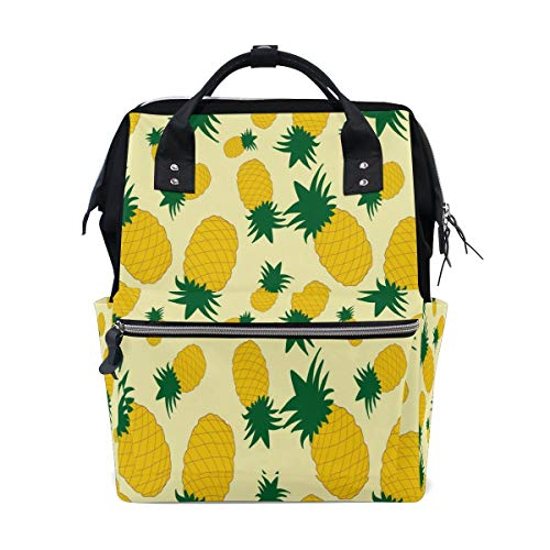 Fruit Pineapple Yellow Multi-Function Diaper Bags Backpack Travel Bag