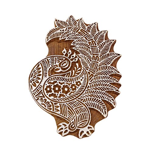 Knitwit Bloc Art en Bois De Cerf des Marais Timbres De Poterie De Bois Indien pour L'Argile Textile Stamp