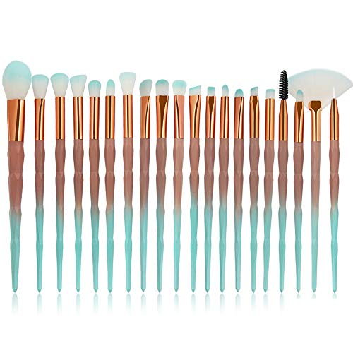 AIKES Pinceaux De Maquillage 20Pc Pinceaux De Maquillage Professionnel Set Beauty Synthetic Hair Brush Powder Concealer Eyeshadow Foundation Cream Brushes Kit,GradientGreen