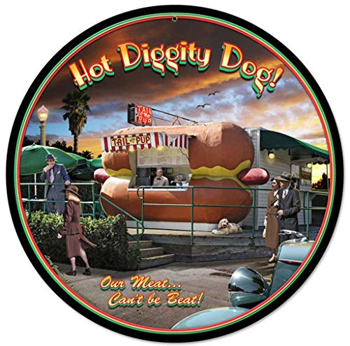 Aber Retro Hot Diggity Dog Vintage Round Tin Sign Nostalgic Metal Sign Home Decor for Culb Bar Cafe 12x12 Inches