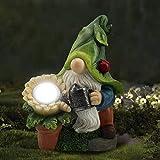 Dantazz Gartenzwerg Gartendeko LED Solar Licht Zwergstatue Gartenfigur Harz Ornamente Bewässerung Zwerg Deko Kreative Zwerg Solar Lamp, Garten Rasen Esstisch Balkon Dekoration (Mehrfarbig)