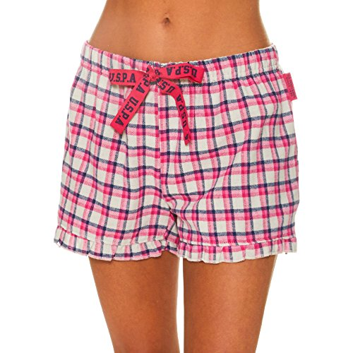 U.S. Polo Assn. Womens Plaid Flannel Pajama Lounge Shorts with Lace Trim White Large