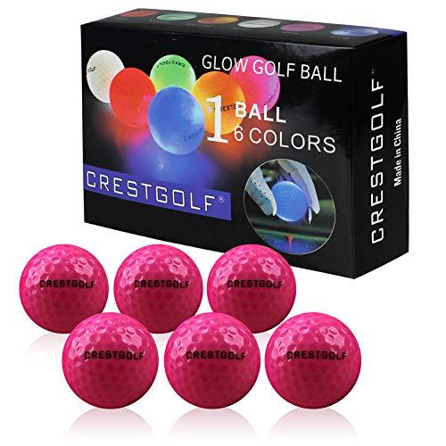 Crestgolf 6 Stück LED leuchten Golfbälle Nachtgolfball Offizielle Größe Glow In Dark Perfekt für Golf Long Distance Shooting (pink) neu