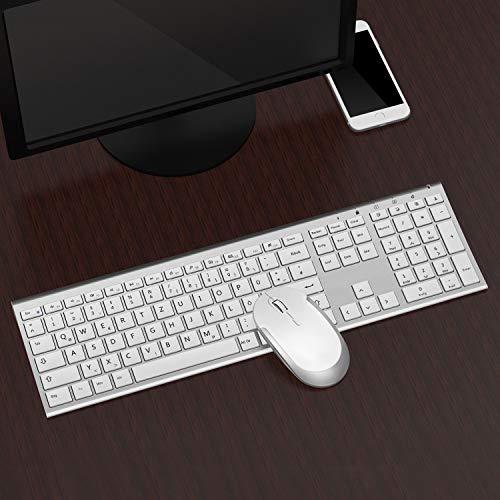 Jelly Comb 2.4G Funk Tastatur und Maus Set, Ultraslim Wiederaufladbare Tastatur mit Wireless Maus, Fullsize Design, QWERTZ Deutsches Layout für PC/Laptop/Computer/Smart TV, Weiß und Silber