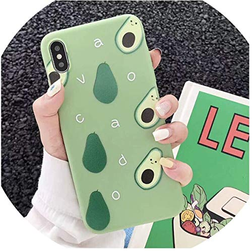 Who-Care Lovely Avocado Peach Summer Fruitschaal voor iPhone 6 6S Plus XR XS Max Transparant Soft TPU Back Cover voor iPhone X 6 7 8 Plus T3, voor iPhone 6 6S 6S, Forfor iPhoneX, T3