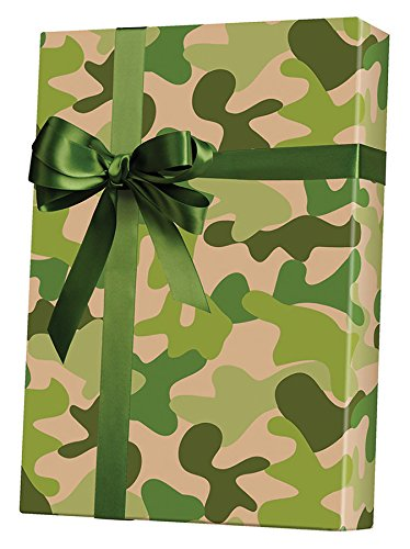 """Camouflage Kraft Rolled Gift Wrapping Paper - 24"""" x 15'"""