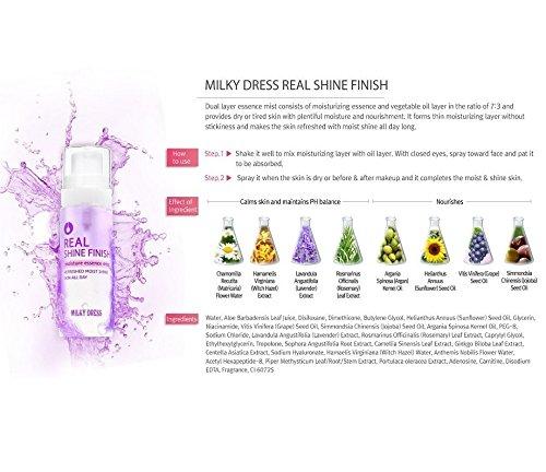 Milky Dress Real Shine Finition feuch tikeits Spray de visage pour peau sèche spannende cas de manque l'humidité
