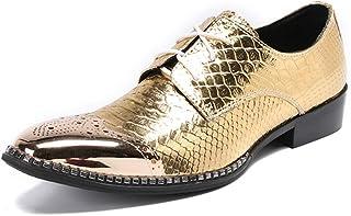 DEAR-JY Chaussures en Cuir Pointues pour Hommes,Personnalité de la Mode Tide décontractée Motif de Poisson doré en métal,C...