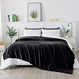 RATEL Mantas para Cama Negro 200 × 230 cm, Mantas para Sofa de Franela Reversible, Mantas Ligeras de 100% Microfibra - Fácil De Limpiar - Extra Suave Cálido
