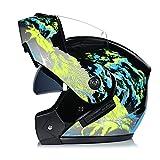 BUETR Casco de motocicleta eléctrica casco de doble lente casco de cara abierta casco de casco completo casco de carrera de carrera casco de seguridad de bicicleta de montaña-S_Yellow lobo hambriento
