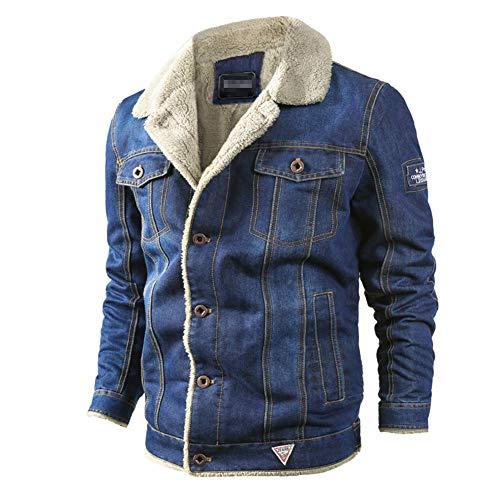 GUOCU Jeansjacke Herren Winter Denim Jacket Gefütterte Jeans Jacke mit Fell Mantel Warme Winterjacke mit Stehkragen Hellblau L