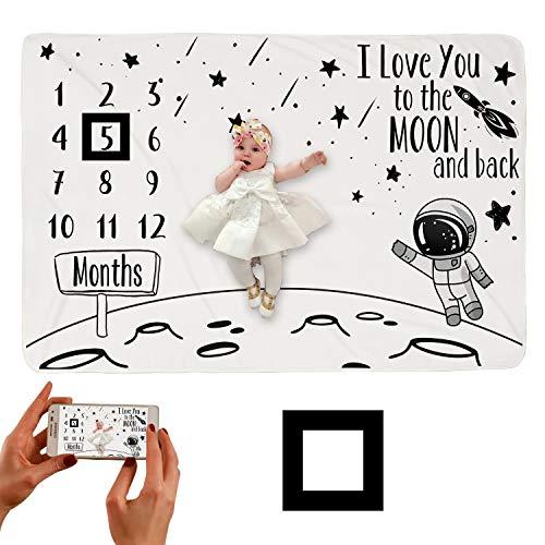 Hocaies Manta Bebe Manta Mensual Hito De Para Bebé Manta Bebe Personalizada Para Franela Adecuado para Regalos Originales para Bebes Recien Nacidos y Registros de Crecimiento Mensual.(100 * 150cm)