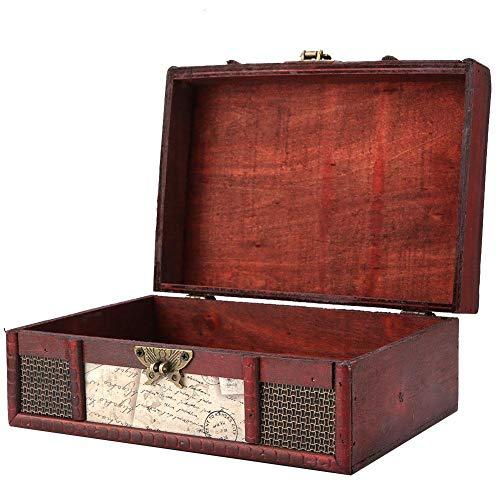 FTVOGUE - Caja de almacenamiento de madera estilo vintage, tamaño grande, libro, joyas, almacenamiento de almacenamiento,...