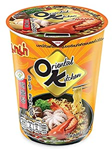 Mama Instant Cup Noodles Seafood Flavor - Oriental Style Noodles, Quick and Easy To Cook, Just Add Hot Water, No Trans Fat, Less Calories, Fork Included 70g (6 Pack)
