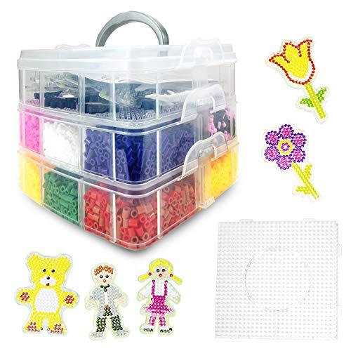 La Manuli 12000 Bügelperlen Iron Beads Box XL 5 Bretter Formen Teddybär Mädchen Junge Blumen 1 Große Quadratisch Steckplatte KOMPLETT-Set