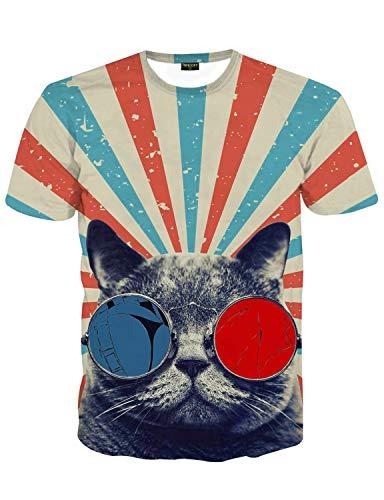 PIZOFF Unisex Print Schmale Passform T Shirts mit Karikatur Katze 3D Druckmuster, 01120015x60, XXL