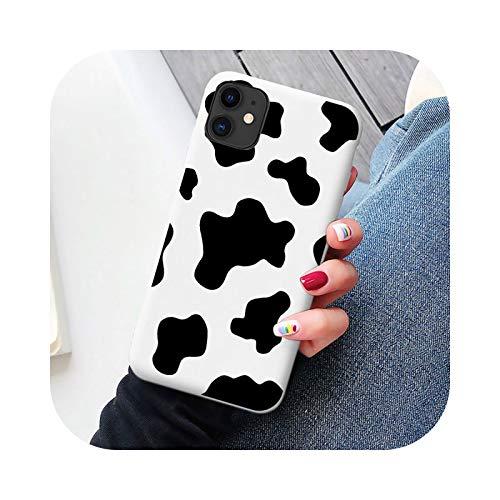 Funda de silicona suave para iPhone X XR XS Max SE2020 12 11 Pro 6S 7 8 Plus funda para teléfono celular, diseño de vaca blanca y negra