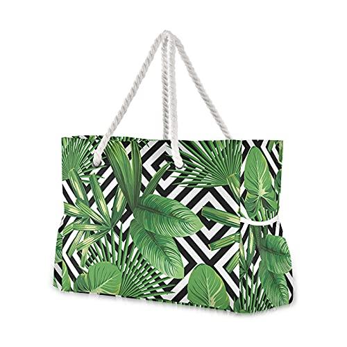JSJJAKM Bolsas de playa para mujer, de gran capacidad, para verano, con palmeras tropicales, hojas de monstera, bolso de la compra, color 07