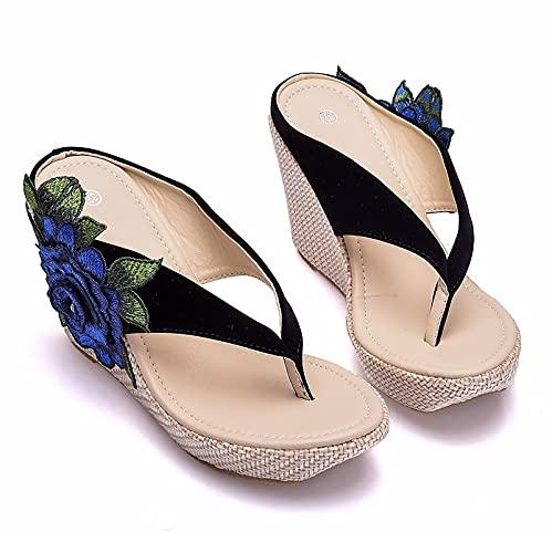 GSYNXYYA Mujer Zapatos Boda, Chanclas Bordadas con Plataforma De 3,54 Pulgadas, Sandalias...