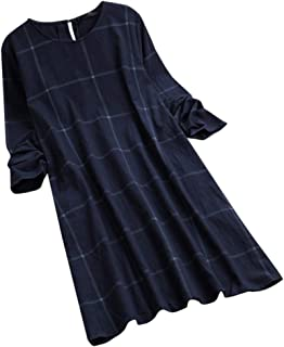 Sexy Dresses for Women Club Night,Womens O-Neck Casual Women Loose Plaid Long Sleeve Vintage Shirt Dress