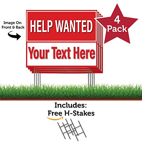 HALF PRICE BANNERS   Custom Help Wanted -4 Pack Double Sided Coroplast Yard Signs   18X24 inch-Red   Includes H-Stakes   Easy Install Sign-Made in USA
