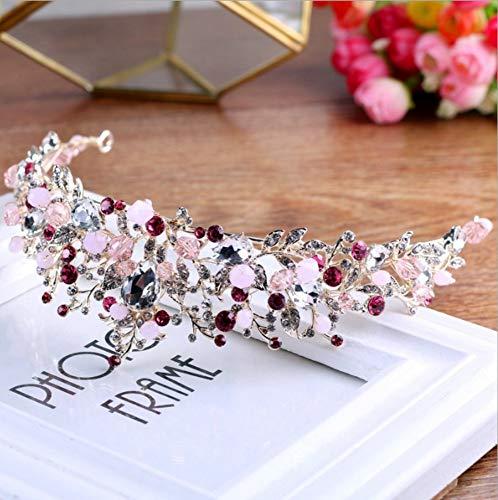 Tiara Adornos para El Cabello Novia Sombrero Corona Tocado para Mujer Rizo Estética Simple Noble Elegante Sagrado Accesorios De Vestir, Rosa