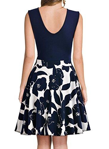 MIUSOL Kleid V-Vusschnitt Armellos Blume Patterned Mini Casual Kleid Navy Blau Gr.XL - 2