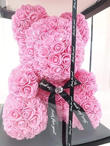 40cm Pinke Künstliche Rosenbär mit schwarzer Schleife L-33cm x B-33cm x H-40cm inklusive Geschenkbox - Rose bear with black bow 40 cm incl. giftbox - Flower Teddy Muttertag (Pink)(Schleife)