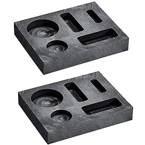 Moligh doll 5 nel 1 Stampo per Lingotti per Colata di Grafite Combinazione di Monete per Colata di Metallo Barra di Scarto per Fusione di Metalli di Raffinazione per Fusione (2 Pezzi)