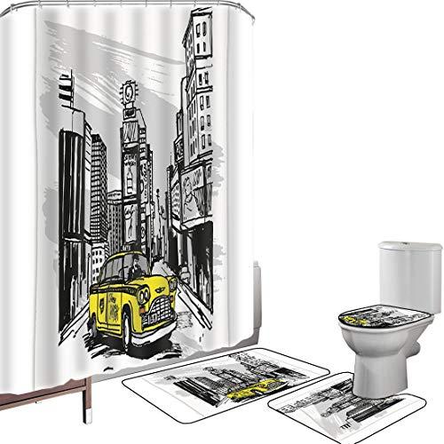 Ensemble de rideau douche Accessoires salleVague Couverture toilette pour tapis bain Jaune Dessiné À La Main Cab Dans New York Street Cityscape Américain Art De La Vie Urbaine,Noir Taupe Jaune Antidér