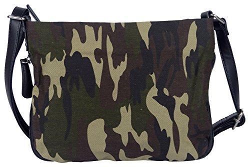 Bunte Umhängetasche Canvas Camouflage Army Style - Maße 27 x 20 cm/ohne Schulterriemen) - Damen Mädchen Teenager Tasche (camouflage)