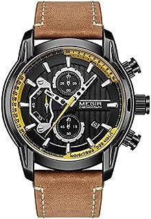 Megir Casual Watch for Men Chronograph Leather ML2104G-BKBN-1 Brown