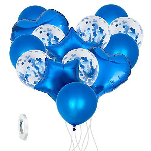 Comius Sharp 14 piezas Globo de Látex Globos de Confeti Decorativos, con Corazones y Estrella Globos, con 1 Rollo de Cinta, para cumpleaños, celebración, Aniversario, Boda, Baby Shower Party (Azul)