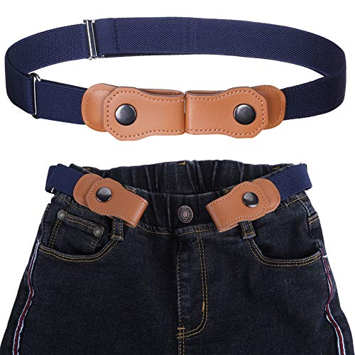 Kajeer Cinturón elástico para niños sin hebilla - Cinturón invisible ajustable para 50-81 cm para niños de 2 a 15 años (Azul marino)