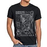 style3 Zaino Protonico Cianografia T-Shirt da Uomo Fantasma Proton Pack, Dimensione:L, Colore:Nero