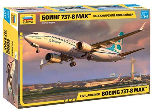 ZVEZDA 500787026 - 1:144 Boeing 737-8 MAX, Modellbau, Bausatz, Standmodellbau, Hobby, Basteln, Plastikbausatz