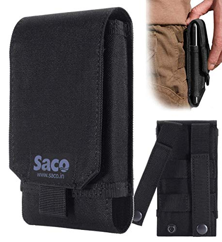 Saco Belt Waist Packs Pouch Holster Cover Case for Mobile Phone (Size L) Sports Fitness & Outdoors Running Jogging - (Black)