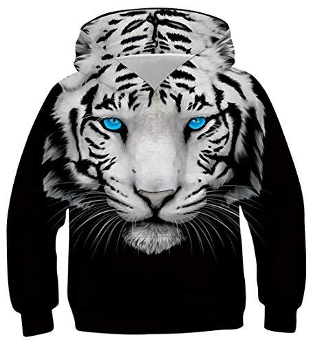 uideazone Jungen Mädchen Kapuzenpullover 3D Druck Teenager Hoodies Kinder Langarm Pullover Sweatshirts Kapuzenjacke mit Taschen 6-16 Years, Coole Katze, 8-11 Jahre