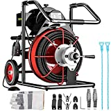 Mophorn 75 Ft x 3/8Inch Drain Cleaner Machine fit 1 Inch (25mm) to 4 Inch(100mm) Pipes 370W Open Drain Cleaning Machine Portable Electric Drain Auger with Cutters Glove Drain Auger Cleaner Sewer Snake