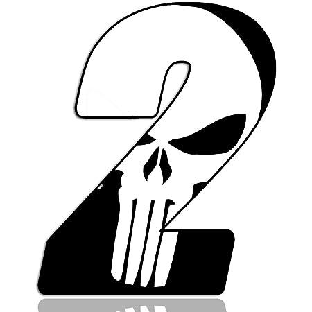 Biomar Labs Startnummer Nummern Auto Moto Vinyl Aufkleber Sticker Skull Schädel Punisher Weiß Motorrad Motocross Motorsport Racing Nummer Tuning 8 N 368 Auto